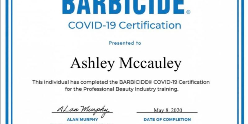 Ashley McCauley Owner and Stylist at Salon Veritas in Downtown Raleigh NC Barbicide COVID-19 Certification